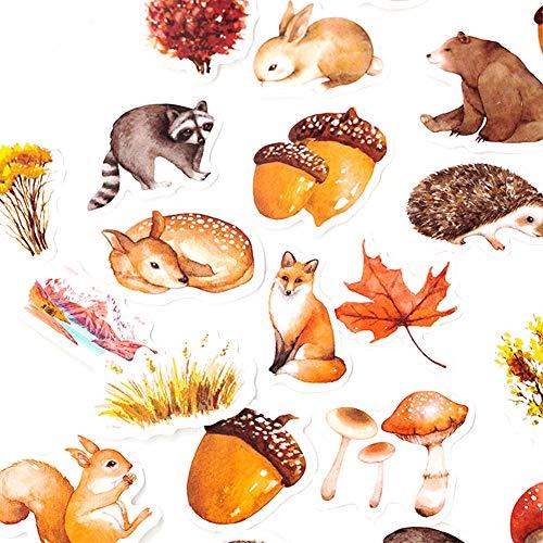 CAOLATOR 46 Blatt Herbst Thema Aufkleber Set mit Eichhörnchen Muster, Kinder Mädchen Stickers aus Papier für Scrapbooking Stickerbuch Tagebuch Fotoalbum Notizbuch Kalender Dekoration
