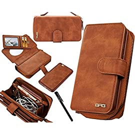 Urvoix iPhone 6 Plus/iPhone 6S Plus Case, Premium Leather Zipper Wallet Multi-functional Handbag Detachable Removable Magnetic Case with Flip Card Holder Cover for iPhone6 Plus/6S Plus(5.5″)