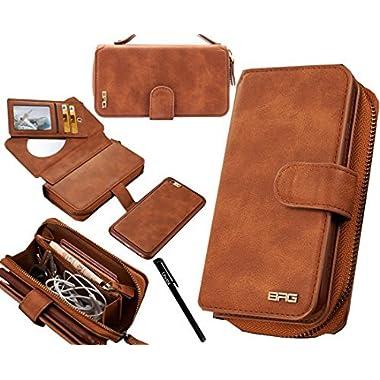 Urvoix iPhone 6S Plus/iPhone 7 Plus/iPhone 8 Plus Case, Premium Leather Zipper Wallet Handbag Detachable Removable…