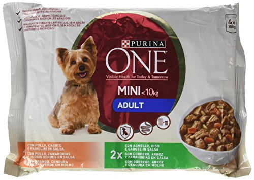 Purina One My Dog is 12273345, Perro Mini Adulto Pollo y Cordero en Salsa, 4x100 gr