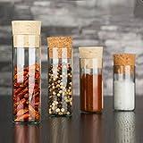 25x kleine Gewürzgläser mit Natur-Korken ☆ Dekorative Glasfläschchen ☆ Hochwertig und Starkwandig ✓ (130 x Ø30 mm)