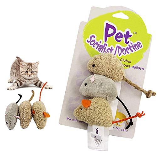 evergreemi 3Pcs Giocattoli per Gatti Gioca a Peluche, Set di Giocattoli Classici per Gatti, Simulazione realistica Mouse Mouse Giocattolo Regalo di Natale Giocattolo