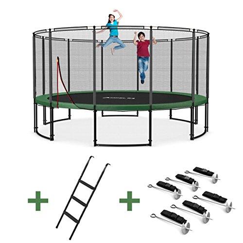 Outdoor-Trampolin-Set--305-366-430-490-cm-Gartentrampolin-mit-Leiter-Windsicherung-verschiedene-Ausfrhungen