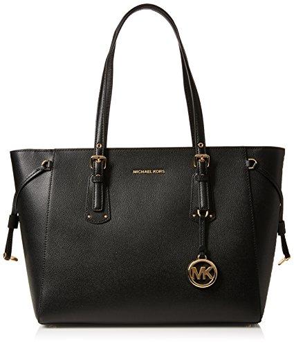 Medium Tote Bag Handtasche (Michael Kors Damen Voyager Tote, Schwarz (Black), 15x26x35 centimeters)