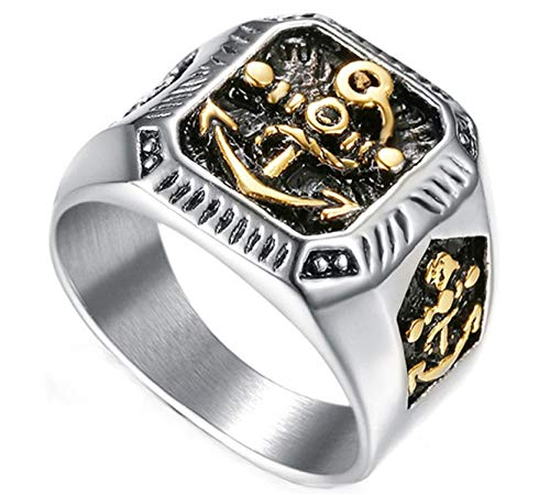 Ueice Herren Classic Retro Gothic Navy Ankerhaken geschnitzt quadratisch Silber geschmiert Edelstahl Ringe,Größe 65 (20.7)