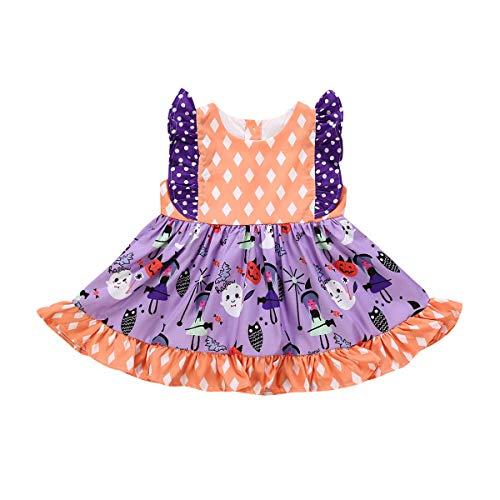 Milkiwai vestito da halloween senza maniche per bambina neonata abiti per abiti da sera 6m-5y abiti per bambina (color : orange, kid size : 3t)