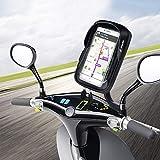 WACCET Ajustable Support Telephone Moto Imperméable Anti-Vibrations Porte Smartphone Moto Etanche avec Rotation 360°, Support Téléphone Scooter avec Sun Visor pour Smartphone jusqu'à 6.5'