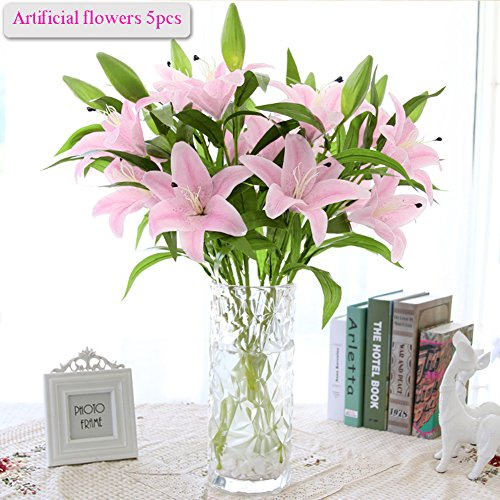 Artificial-flowers-5pcs-Artificial-Lillies-with-3-Buds-Full-Bloom-Artificial-Latex-Real-Touch-Flowers-for-Home-Decor-Wedding-Parties-Offices-Restaurants