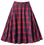gigileer Vintage de las mujeres plisado falda swing 1950s inspirado faldas Rojo red#1 Tartan Small