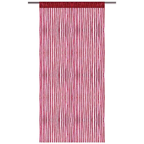 Bestlivings Fadenvorhang mit Stangendurchzug, Gardine in Lurex-Optik, Dekoartikel in vielen Farben und Größen (rot - Bordeaux / 90x200 cm)