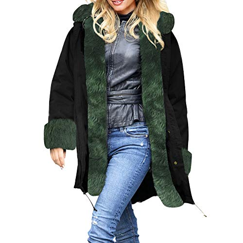 Frauen Winter Overcoat MYMYG Kapuzenjacke Faux Fur Parka Hooded Thick Warm Daunenjacke Slim Long Fleecejacken Lammy Jacke Lange Mantel ()