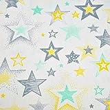 Sterne Gelb Schwarz 100% Baumwolle Baumwollstoff Kinderstoff Meterware Handwerken Nähen Stoff 100x160cm 1 Meter (Sterne Gelb Schwarz)