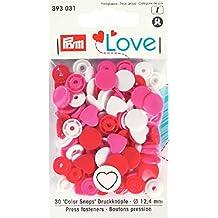 prymlove Herz Form Nähfrei colorsnaps Druckknöpfe, Kunststoff, rot/weiß/hell rosa, 12,4mm, 30-tlg.