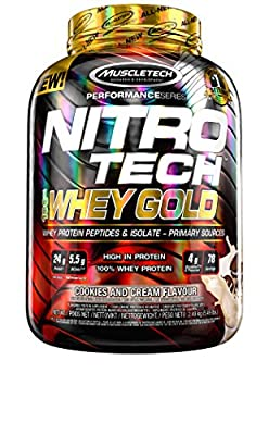 Muscletech Nitrotech Whey Gold, 100 Percent Whey Protein Powder, Whey Isolate and Whey Peptides, Cookies and Cream, 2.51 kg from MuscleTech