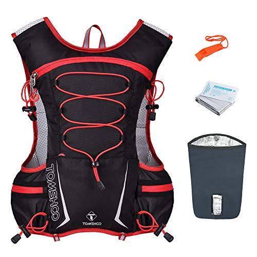 TOMSHOO Hydration Vest Pack, Laufrucksack mit Isolierungstasche, Pfeife, Notfalldämmdecke für Outdoor Ausrüstung Skifahren, Laufen, Wandern, Radfahren