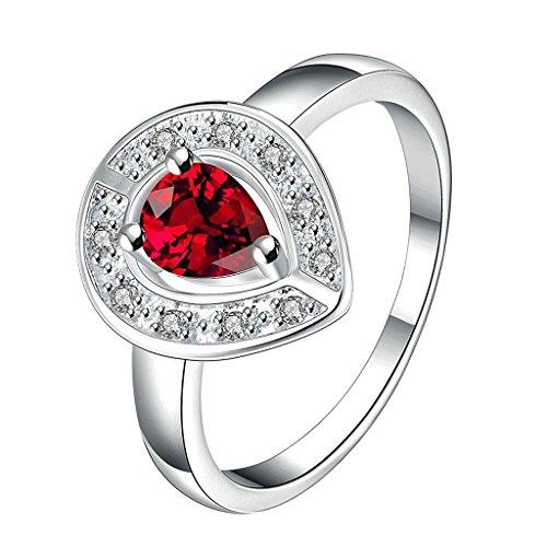 Aeici Schmuck Ringe Silber Damen Tropfenform Rot CZ Größe 57 (18.1)