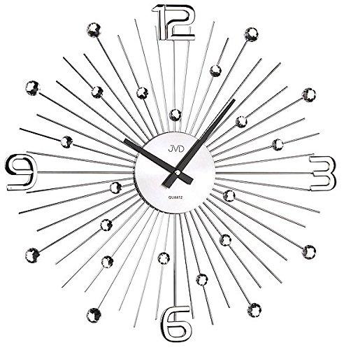 Wanduhr groß Uhr Modern Style Design Kristall Sunburst Quarzuhr Quarz Kristalle