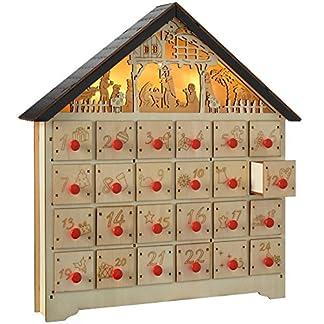 WeRChristmas – Calendario de Adviento con Estampa navideña, Madera, 35 cm