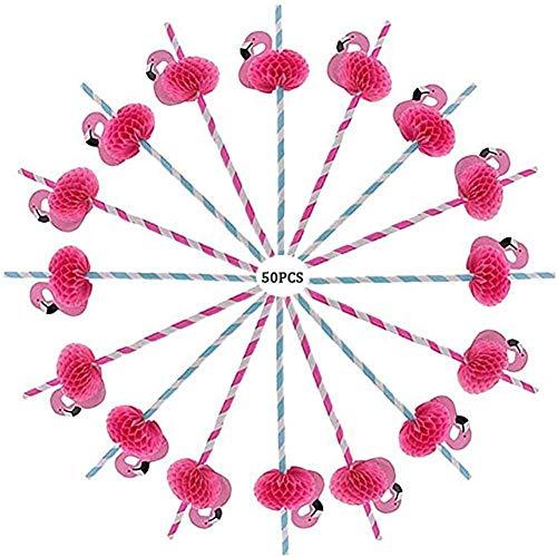Cocktail Trinkhalme,50 Pack Flamingo Kunststoff Strohhalm für Cocktail Geburtstag Hochzeitsfeier Partei Liefert 24 CM Verschiedene (Geburtstag Partei Liefert)