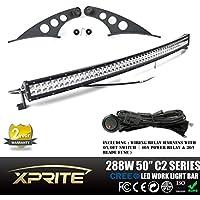 Xprite 50, dritti e curvi LED lavoro luce bar in acciaio superiore parabrezza staffe di (Parabrezza In Acciaio Parti)
