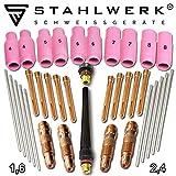 STAHLWERK WP-26 WIG Schweißzubehör Verschleißteile: Spannhülsen + Gehäuse + Keramikdüsen + Wolframelektroden für WP-26 WIG-Schweißbrenner, Set 36-tlg.