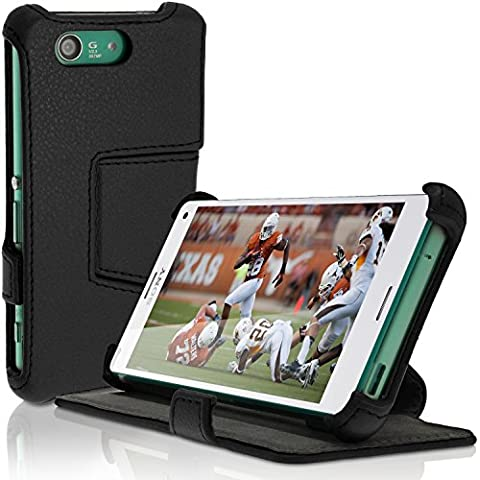 igadgitz Premium Negro PU Cuero Funda Folio Carcasa para Sony Xperia Z3 Compact D5803 D5833 Piel Case Cover con Soporte + Protector Pantalla