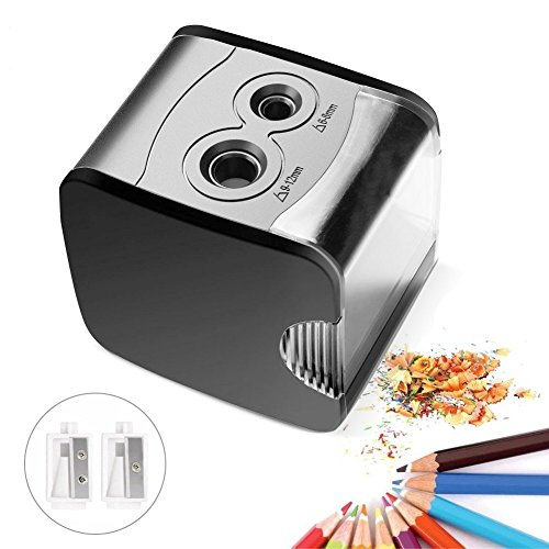 Expower Electric Pencil Sharpener, Portable Durable Battery/USB Powered Pencil Sharpener with Double Holes for 2B, Colored and Eyebrow Pencils at Home Office School