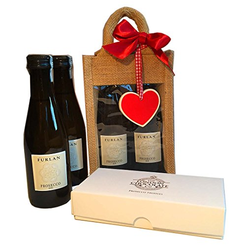 Valentine's Mini Prosecco Treat Bag for 2: Two bottles of Prosecco and 8 luxury Prosecco chocolate truffles packaged in a cute Jute bag with a wooden red heart