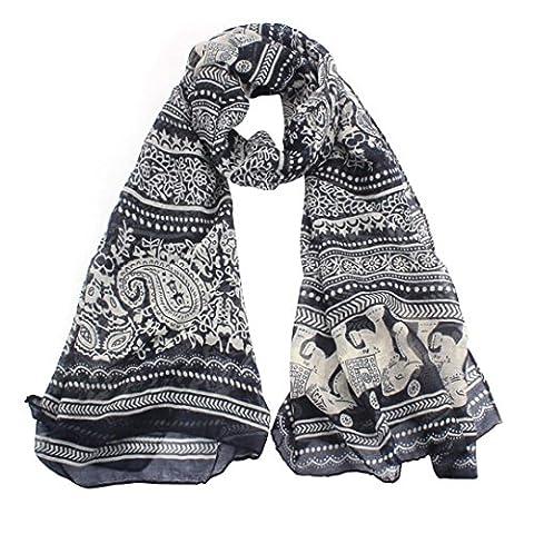 Internet Ladies Elephant Print Long Scarf Shawl Wrap Pashmina Stole (Black)