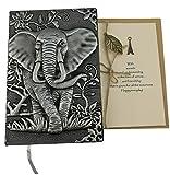 Handgefertigt A5Hardcover Notebook PU Leder 3D Prägung Elefant Tagebuch Scrapbook mit Grußkarte Geschenk grau