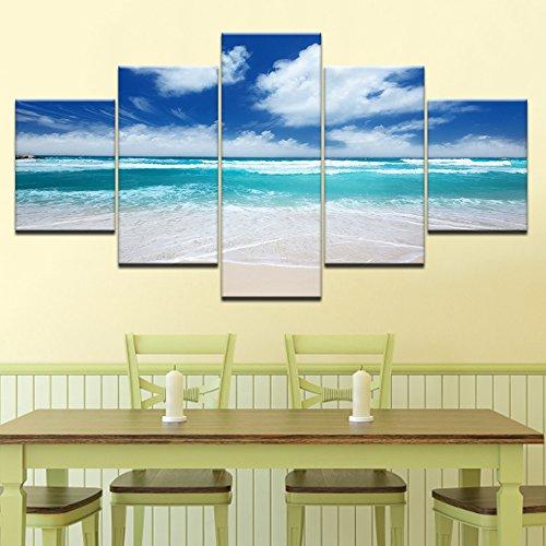 Design PT Wohnkultur Modulare Print Malerei 5 Panel Blauen Himmel Weiße Wolke Strandlandschaft Leinwand Rahmen Wandkunst Bilder Für Wohnzimmer, 30x40 30x60 30x80 cm, Rahmen