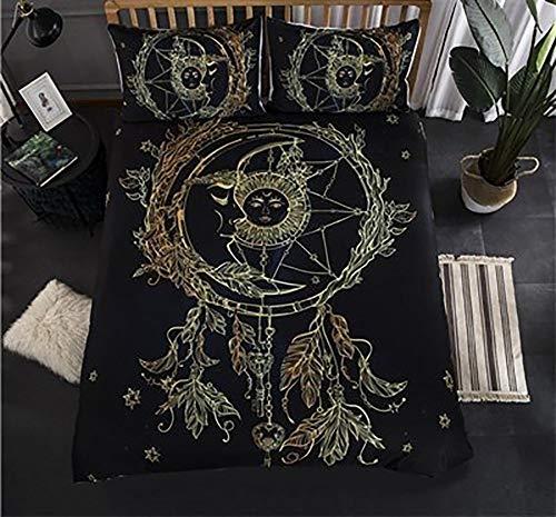 Fcao-Bettwäsche, 3D König Königin Bettbezug Set Feder Muster Bettwäsche Set Goldene 3D Bettbezug Mandala Boho Bettwäsche Federmuster (Color : Style 7, Size : UK Single 135x200cm) -