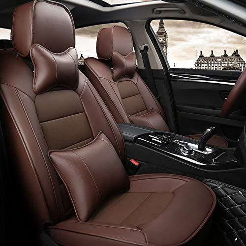 DX Autositzbezüge, Leder Full Set 5 Sitz der Universal-Auto-Innen Zubehör Kompatible Airbag Four Seasons Universal-Breath Kuhfell Schutzkissen (Color : Brown)