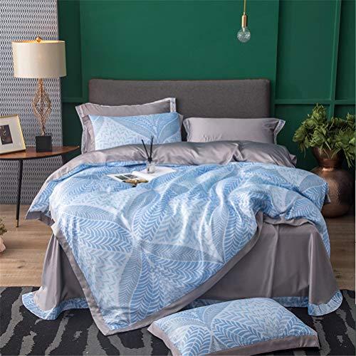 HD-Dreamer Bettwäsche Bettdecke Sets, 100% Lyocell Tencel, 4 Teilig 1*Bettbezug 1*Flaches Blatt 2* Kissenbezüge, Queen/King Blumen,G,220x240cm -