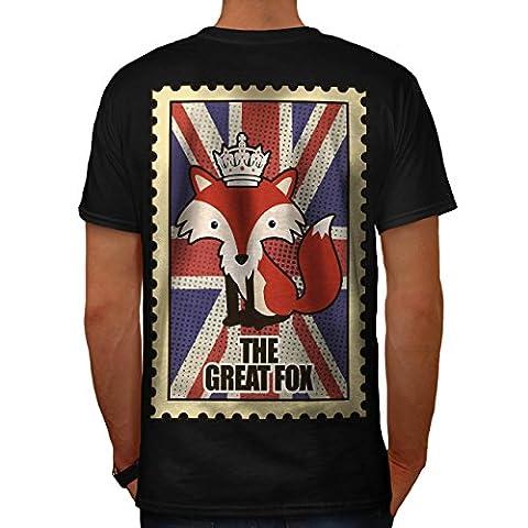 Tier Fuchs Flagge Krone Vereinigtes Königreich Krone Vereinigtes Königreich königlich Herren S T-shirt Zurück | Wellcoda