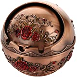 MagiDeal Metal Ashtray Holder Room Ball Shape Cigarette Organizer Box 3 Types - Red Rose, 9.5x10cm