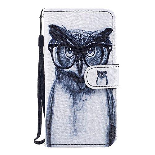 """MOONCASE iPhone X Coque, Durable TPU Wristbands avec Support Protection Étuis Case Built-in Card Slots Flip Cuir Housse pour iPhone X 5.8"""" Owl Owl"""