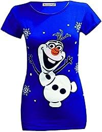 Neuen Frauen Olaf Rudolph Schneemann von Santa Minion Christmas T-Shirt Oberteile 36-42