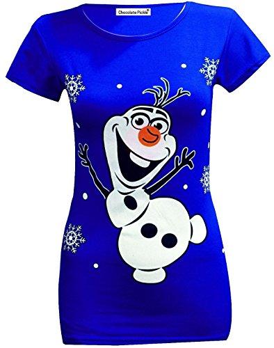 Minion Kleid (Neuen Frauen Olaf Rudolph Schneemann von Santa Minion Christmas T-Shirt Oberteile 36-38 Royal Blue Olaf)