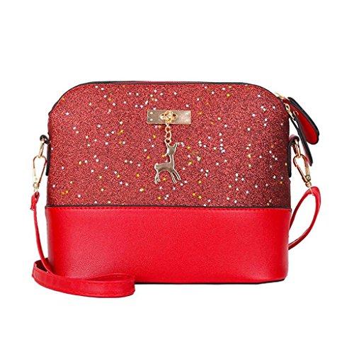 VJGOAL Damen Schultertasche, Frauen Mädchen Frau Geschenk Mode Bling Leder Splice Party Umhängetasche Handtasche Schultertasche (23*11*20cm, Rot)