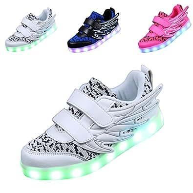 ECOTISH Unisex Kinder Neue LED Leuchten Schuhe 7 Farben, Die Blinkende aufladende Leuchtende Sport-Schuhe mit Flügel-Art-Art und Weiseturnschuhen Ändern (EU 31, Schwarz)