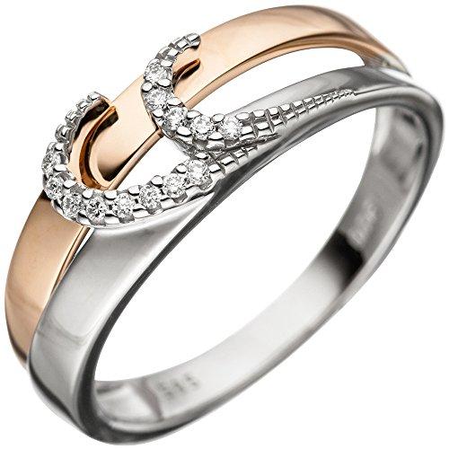 *GIRAHLUTIONS* Damen Ring 585 Gold Weißgold Rotgold bicolor 13 Diamanten Brillanten Goldring