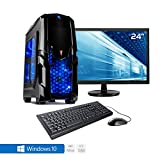 Sedatech Pack complet PC Gamer Advanced AMD Athlon II 860K 4x 3.70Ghz (max 4.0Ghz), Geforce GTX1050 2Go, 8Go RAM DDR3 1600Mhz, 1To HDD, USB 3.1, Wifi, CardReader, HDMI2.0, DirectX 12, Alim 80+. Unité centrale avec moniteur TFT-LED 23.6', clavier & souris et Windows 10 64 Bit