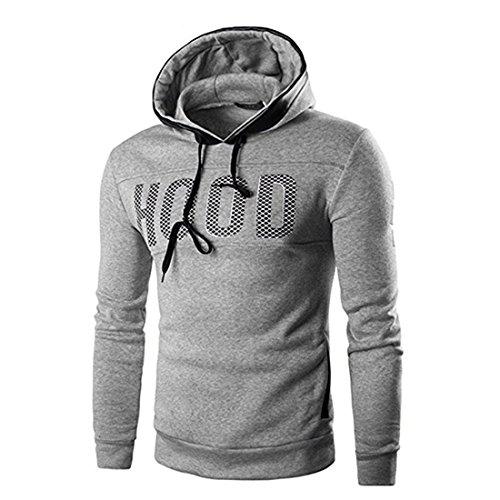 Herren Hoodie Xinan Männer Slim Hoodie Warmer Pullover Sweatshirt mit Kapuze Outwear Tops (L, Grau)