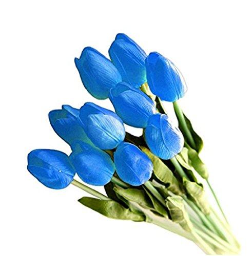 JUYUAN-EU 10/20 Stück Tulpe künstliche Blumen mit Blätter Dekoriere Kunstblumen Latex Real Touch Bridal Wedding Bouquet Home Decor