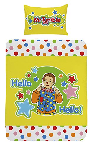 Image of Something Special Mr Tumble Junior Duvet Set with 42 x 62 cm Pillowcase, 50 Percent Cotton/50 Percent Polyester, Multi-Colour, 120 x 150 cm