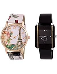 Rjcreation Leather And PU Strap Analog Multicolor Dial Girl's And Women's Watch Combo - PS006 & Kawa-BK
