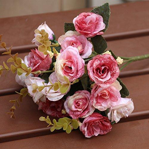 Sharplace Rosen Blumenstrauß Hochzeit Bunte Künstliche Hochzeitsstrauß Rosen Seidenblumen Seidenrosen Kunstblumen Blumen Brautstrauß
