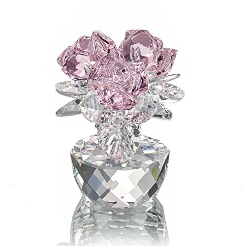 H & D - Decorative figure with pink rose bouquet design, with gift box