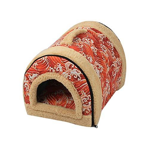 Generic jysport Pet House Lovely Rouge Fraise en Cachemire Chaud Chien Chat Nest Lit Pliable